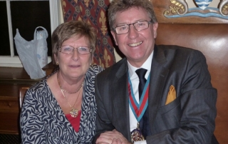 The Master and his wife Averil at the Christmas Dinner