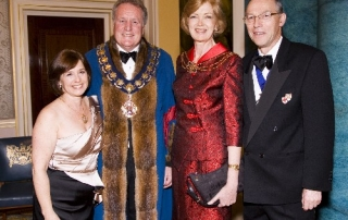 Masters wife Beverly Hopkins, Master Gary Hopkins, Honorary Court Assistant Alderman Fiona Woolf and husband Nicholas Woolf