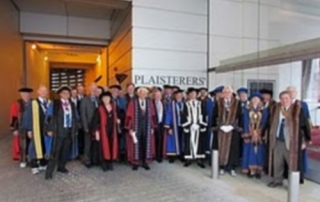 Masters and their associates arrive at Plaisterers Hall