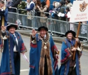 The Master, Senior Warden and Junior Wardent in procession
