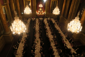 1. Four large Candlelit Chanderliers created the perfect atmosphere during dinner