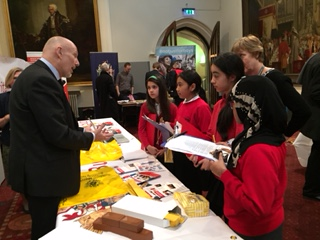 Liveryman Andrew Pine engages with the students