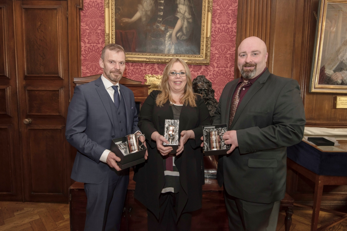 BMF Winners (L-R) Johnathan Rawson, Lynn McGhee and Lee Stock. The fourth winner Simon Birchall was unable to attend