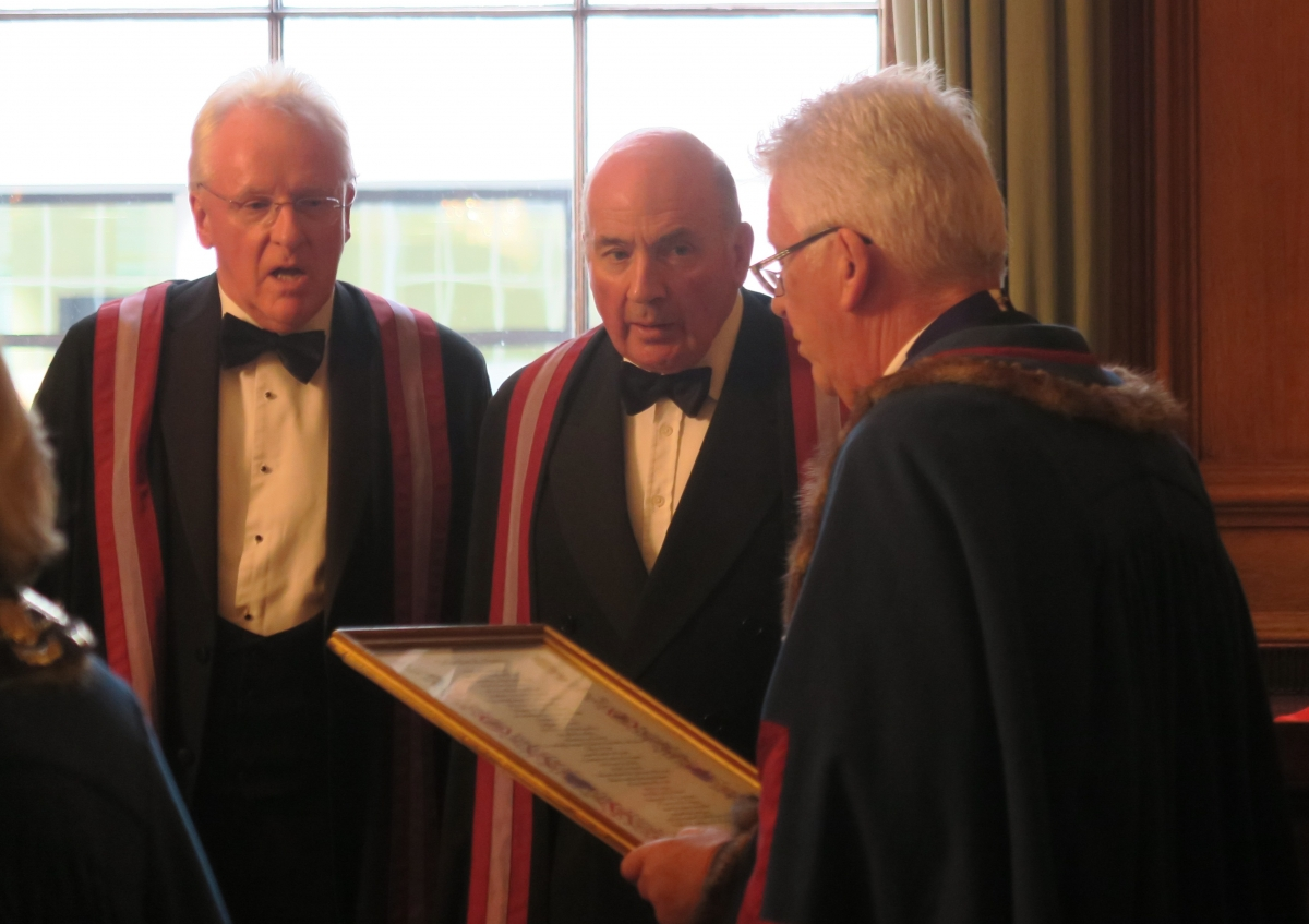 Alderman Dr. Andrew Parmley and General the Lord Dannatt installed as Honorary Liverymen by the Master