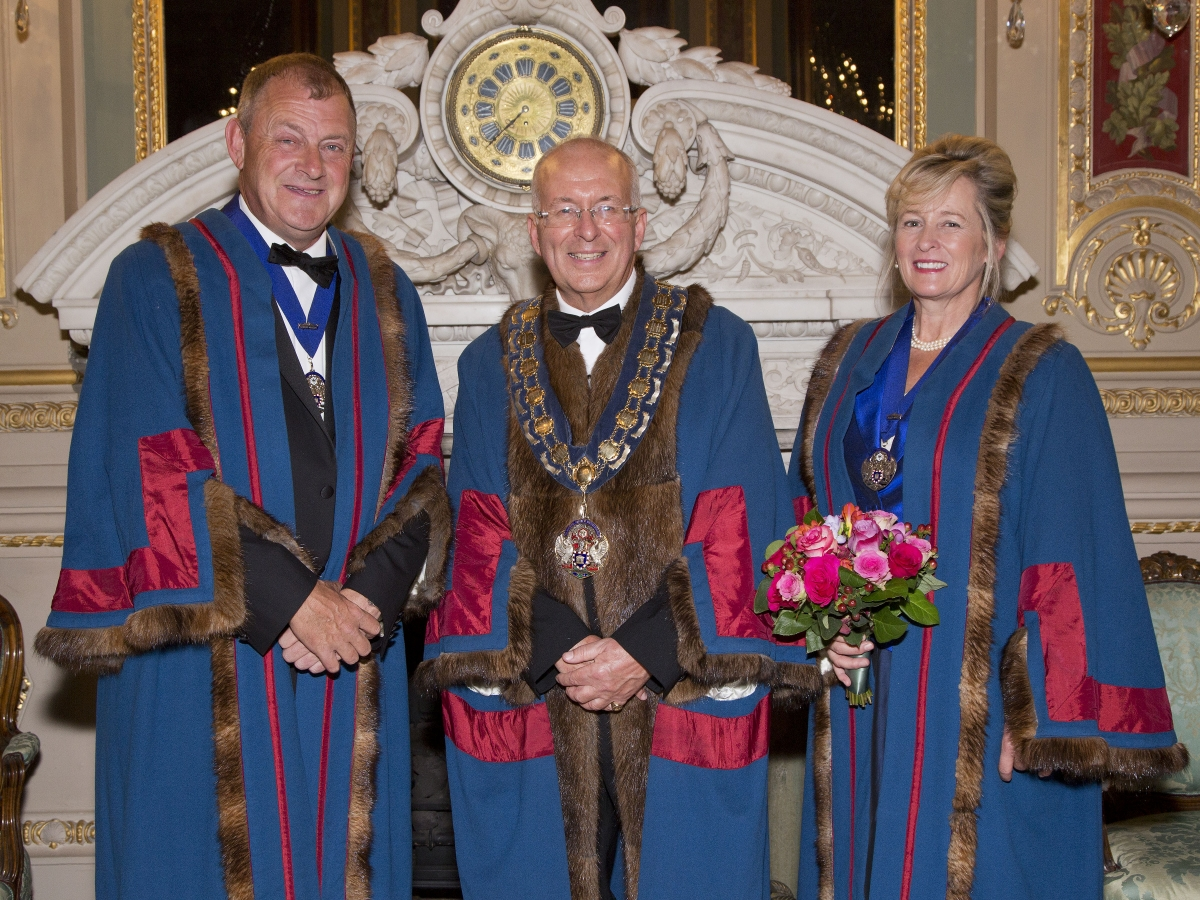 The Master with Senior Warden Brian Blanchard (R) and Junior Warden Pippa Latham (L)