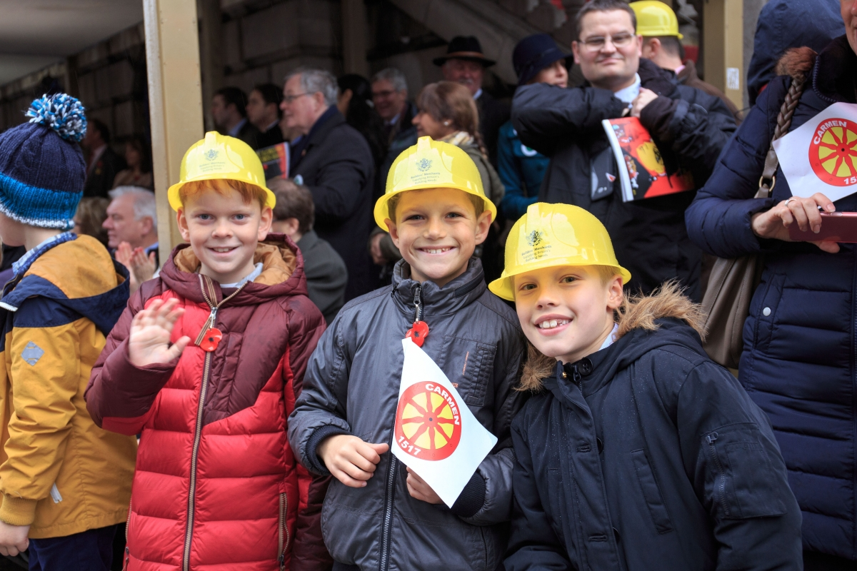 Children wearing the infamous WCoBM yellow hats
