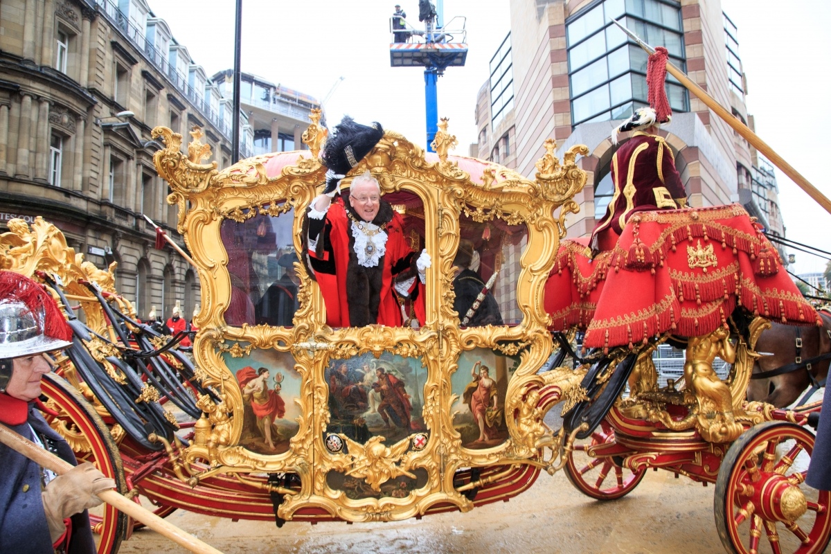 Lord Mayor Andrew Parmley in the procession carriage