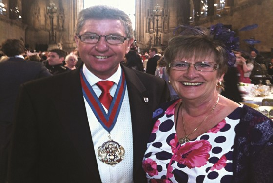 The Master and his wife inside Westminster Hall