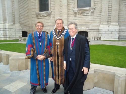(L-R) Senior Warden Graham Ballinger, Master Gary Hopkins and Clerk Tim Statham